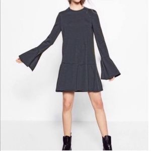 Zara Trafaluc Grey Bell Sleeve Drop Waist Dress. M